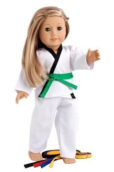 Now your doll can be an expert in martial arts. She can do Karate or Tae Kwon Do in this nice white uniform with a yin and yang sign on the back that represent the balance in the world.    Our doll clothes fits 18 inch American Girl dolls. Designed in the USA and sold Exclusively by DreamWorld Collections. DOLL(S) NOT INCLUDED U.S. CPSIA CHILDREN'S PRODUCTS SAFETY CERTIFIED