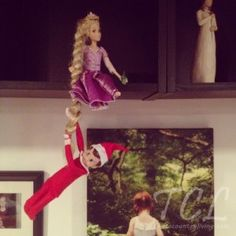 elf on the shelf climbing Rapunzel's hair!