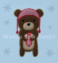 Hipster Bear Applique  5x7 Machine Embroidery by WorldSewSweet