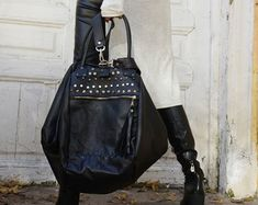 OFF Cross Body Black Leather Bag/Extravagant Leather Tote/Black and Red Genuine Leather Clutch/Goth Culture Handbag/Extravagant Leather Black Linen Pants, Black Harem Pants, Black Leather Bags, Black Tote Bag, Loose Pants, Large Shoulder Bags, Black Maxi, To Color, Casual Bags