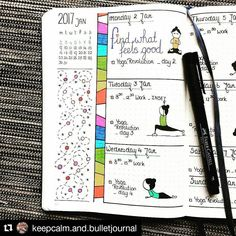 Wonderful partial week from @keepcalm.and.bulletjournal complete with daily yoga moves. #bulletjournalcollection