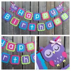 Happy Birthday Owl Themed Birthday Banner - Owl Birthday Banner - Pink Blue Purple Green Owl Banner - Ready To Ship by lilcraftychickadee on Etsy https://www.etsy.com/ca/listing/278096116/happy-birthday-owl-themed-birthday