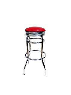 Butaca con en tubería metalica galvanizadas y asiento tapizado rojo brillante