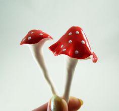 Polymer clay mushrooms with Napthol Red & Titanium White 3D Enamel Gel ...