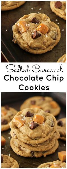 Soft & chewy, sweet & salty. These salted caramel chocolate chip cookies will be your new favorite cookie!