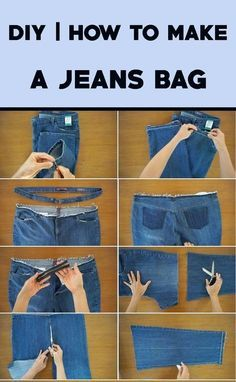 Denim Bags From Jeans, Old Jeans, Denim Bag Patterns, Bag Patterns To Sew, Jean Crafts, Denim Crafts, Diy Sewing Projects, Sewing Tutorials, Diy Jeans Bag Tutorial