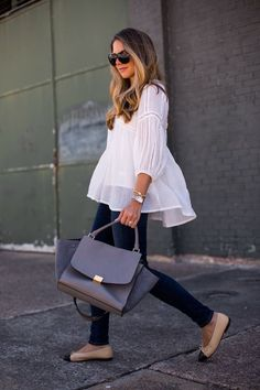 billowy peasant top, skinny jeans, + two-tone flats