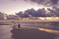 Most beautiful beach dining for two... sigh...♡