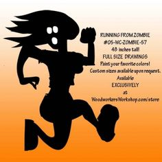 05-WC-ZOMBIE-57 - Running From Zombie Silhouette Yard Art Woodworking Pattern. RFR! RFR! Do not get caught but the shadow lurkers! This zombie project would look great in the yard, on the porch, in a store window or your favourite Halloween haunt! #diy #woodcraftpatterns