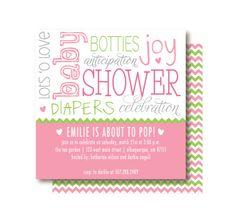 Chevron Baby Girl Shower Invitations - Pink & Green. $20.00, via Etsy.