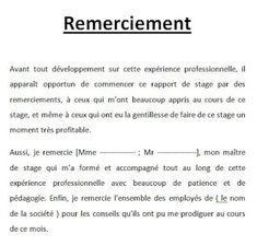Exemple lettre de remerciement rapport de stage 3eme #9 | rapport stage | Lettre a, Remerciement ...