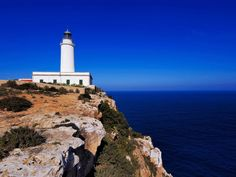 Faro de la Mola or Lighthouse of Formentera. It is located on the eastern tip of the island of Formentera (Balearic Islands - Spain). Headlight height: 12 m. Height above sea level: 142 m. Phases: 1 white flash every 15 sec. Mediterranean Sea.