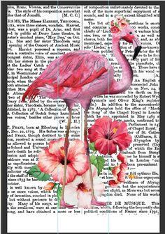 Floral flamingo art