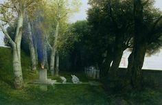 Arnold Böcklin: Der Heilige Hain/The Sacred Wood (Grove) II (1886) Hamburg, Kunsthalle Holz/Wood, 100 x 150 cm (Andree n. 398)
