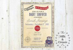 Vintage Suitcase Travel Baby Shower Invite  by themilkandcreamco
