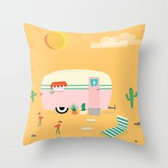 Happy Trailer Throw Pillow