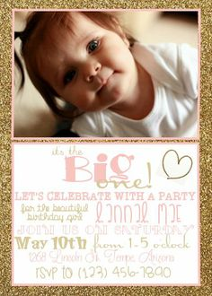 Gold Glitter and Pink Baby Girl's Birthday Invitation with Customized Photo etsy.com/shop/katherineskreation