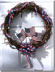 July Wreath-You will need: 11 yards 1 wide red-white-and-blue ribbon 20 grapevine wreath Three 4 x 6 American flags Floral wire Flag Wreath, Patriotic Wreath, Grapevine Wreath, 4th Of July Wreath, Door Wreaths, Happy Fourth Of July, July 4th, Holiday Wreaths, Holiday Crafts