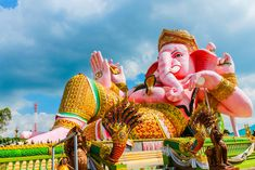Picture of Pink Clining Ganesh Sculpture stock photo, images and stock photography. Music Files, Ganesh, Elephant, Princess Zelda, Sculpture, Stock Photos, Holiday Decor, Creative, Pink