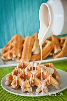 Waffles made with vanilla cake mix,and cinnamon roll icing.