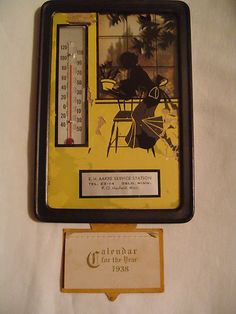 Vintage Curved Glass Silhoutte Aakre Service Station w/Thermometer 1938 Calendar