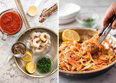"""This Spicy Chilli Prawn Pasta is tossed in a tomato sauce with a secret ingredient that makes this a 15 minute """"wow"""" dinner! Chilli Prawn Pasta, Chilli Garlic Prawns, Spicy Tomato Sauce, Shrimp Pasta, Shrimp Recipes, Pasta Recipes, Cooking Recipes, Pasta Meals, Recipetin Eats"""