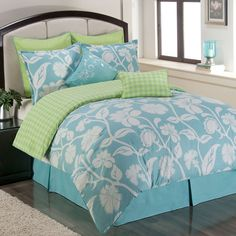 blue comforter set - Sunset and Vine Marigold Queen Comforter Set, Blue/Green Green Bedding, Comforter Sets, Comforters, Tiffany Blue Bedding, Green Comforter, Home Decor, Green Bedding Set, Bedding Sets, Twin Comforter Sets