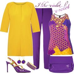 Violet & Yellow Mix by romaboots-1 on Polyvore featuring Peter Pilotto, ESCADA, Cesare Paciotti and Latico