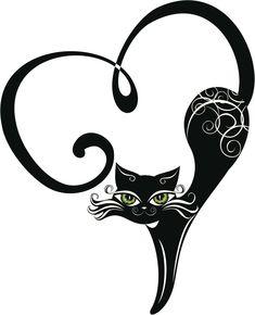 Illustration of Black cat with hearts vector art, clipart and stock vectors. Ima… Illustration of Black cat with hearts vector art, clipart and stock vectors. Crazy Cat Lady, Crazy Cats, Zentangle, Stencils, Black Cat Tattoos, Tattoo Black, Image Chat, Cat Drawing, Cat Art