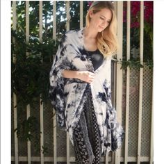 Tie die wrap kimono Navy blue and light gray tie die. Light, airy, stylish. Brand New. Brand- Gilded Amazon. Urban Outfitters Sweaters Shrugs & Ponchos