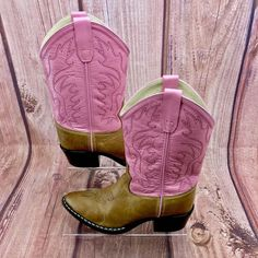 Cowgirl Boots pink brown Leather Cowboy Vintage Dance Dress Up old west uk Vintage Dance, Fancy Dress Up, Click Photo, Boots For Sale, Pink Brown, Cowgirl Boots, Dance Dresses, Rodeo, Girls Shoes