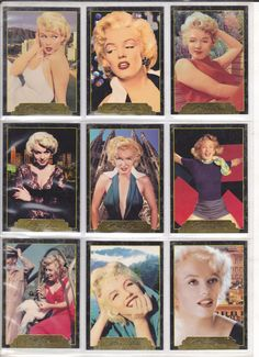 Marilyn Monroe Trading Cards, Series II - example of 9 from a set of 100. Made by SportsTime, USA, 1995.