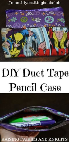 DIY Duct Tape Pencil Case - Make this DIY Duct Tape Pencil Case with your kids and be all set for back to school. July edition of the Monthly Crafting Book Club.