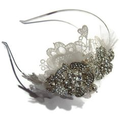 vintage tiara band lacetulle and rhinestone by WestlakeJDesigns
