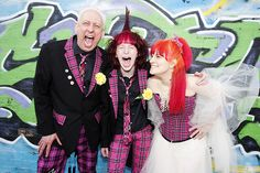 punk rock wedding with pink tartan