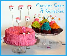Monster Theme: Everyday Art: Monster Birthday Cake and Cupcakes Monster Birthday Cakes, Monster Cupcakes, Monster Birthday Parties, Monster Party, Birthday Ideas, 2nd Birthday, Monster Room, Monster Eyes, Halloween Food For Party