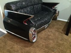 1961 Black Cadillac Car Couch Sofa   eBay  The real steel deal. Seller claims to have paid $12k to have it custom made.