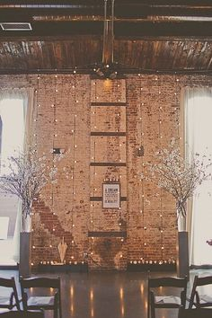 Industrial venues are so popular right now, but they can be hard to decorate. With brick walls and cement floors, it can sometimes feel too cold and stark. Use Edison bulbs to create an alluring backdrop for a ceremony or seating area.