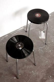 Old Victrola records re-invented into stools or small occassional tables.