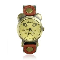Cute Cat Face Leather Watch  color:bronze  size (in cm) 23 x 2.2  material: cow leather  look after me: avoid contact with liquids $25.00