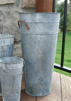 """French Flower Bucket - 18"""" Aged Zinc. Great for an umbrella stand outside the front door."""