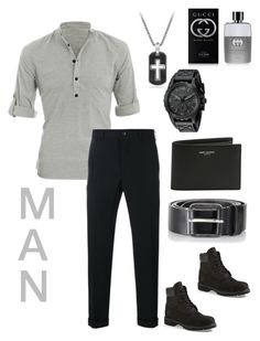 """man"" by kayearnold on Polyvore featuring Allegra K, Comme des Garçons Homme, Timberland, David Yurman, Yves Saint Laurent, Diesel, Gucci, men's fashion and menswear"