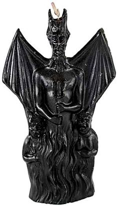 Winged Devil Black Ritual Candle