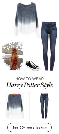 """""""Harry Potter Marathon"""" by lol-horse on Polyvore featuring J Brand, Converse, women's clothing, women's fashion, women, female, woman, misses and juniors"""