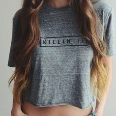 Killin' It Crop Top Grey Killin' It crop top. This isn't brandy Melville but it is definitely a knock off brand. The fabric super soft! Tops Crop Tops