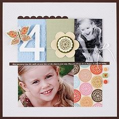 clean and simple scrapbook layout- grid using 3x4 cards, splitting the spaces to fit the photos you have.