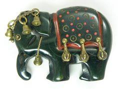 Excellent Vintage Carved Green Bakelite Figural Elephant Articulated Brooch Pin   eBay