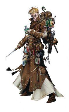 Character Design - Wayne Reynolds illustration of the Pathfinder Alchemist… Wayne Reynolds, Fantasy Male, Fantasy Rpg, Medieval Fantasy, Fantasy Heroes, Dark Fantasy, Dungeons And Dragons Characters, Dnd Characters, Fantasy Characters