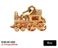 Vintage 10k Rose Yellow Gold 3 Dimensional Steam Engine Train Charm for Bracelet