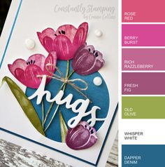 Stampin' Up! Color Combo including In-Colors. Stampin' Up! Color Combo including In-Colors. Stampin Up Catalog, Stamping Up, Rubber Stamping, Card Maker, Color Swatches, Card Sketches, Copics, Flower Cards, Homemade Cards